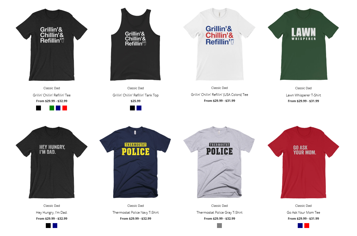 A selection of graphic t-shirts from the brand Classic Dad.